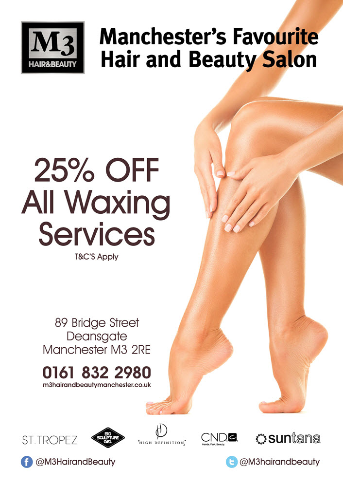 Waxing special offer discount, M3 Hair & Beauty, Manchester